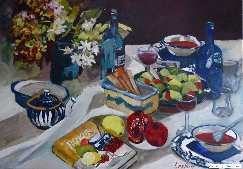 blauwe tafel